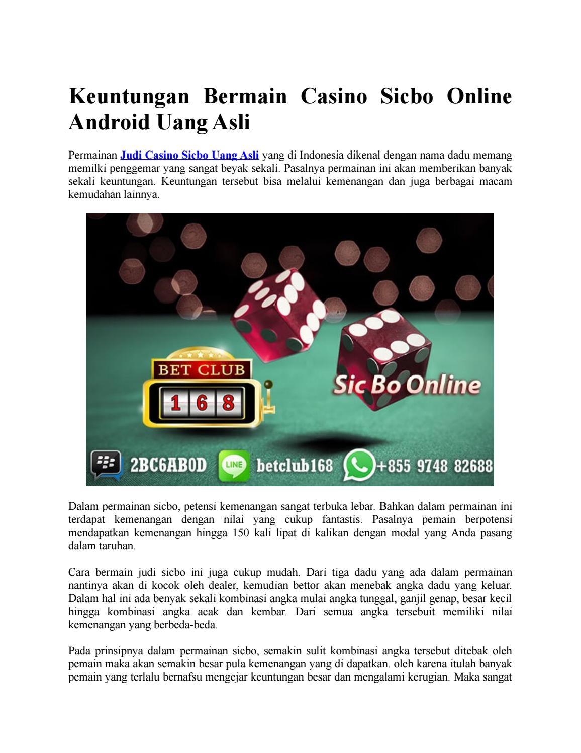 Keuntungan Bermain Casino Sicbo Online Android Uang Asli By Live Casino Uang Asli Issuu