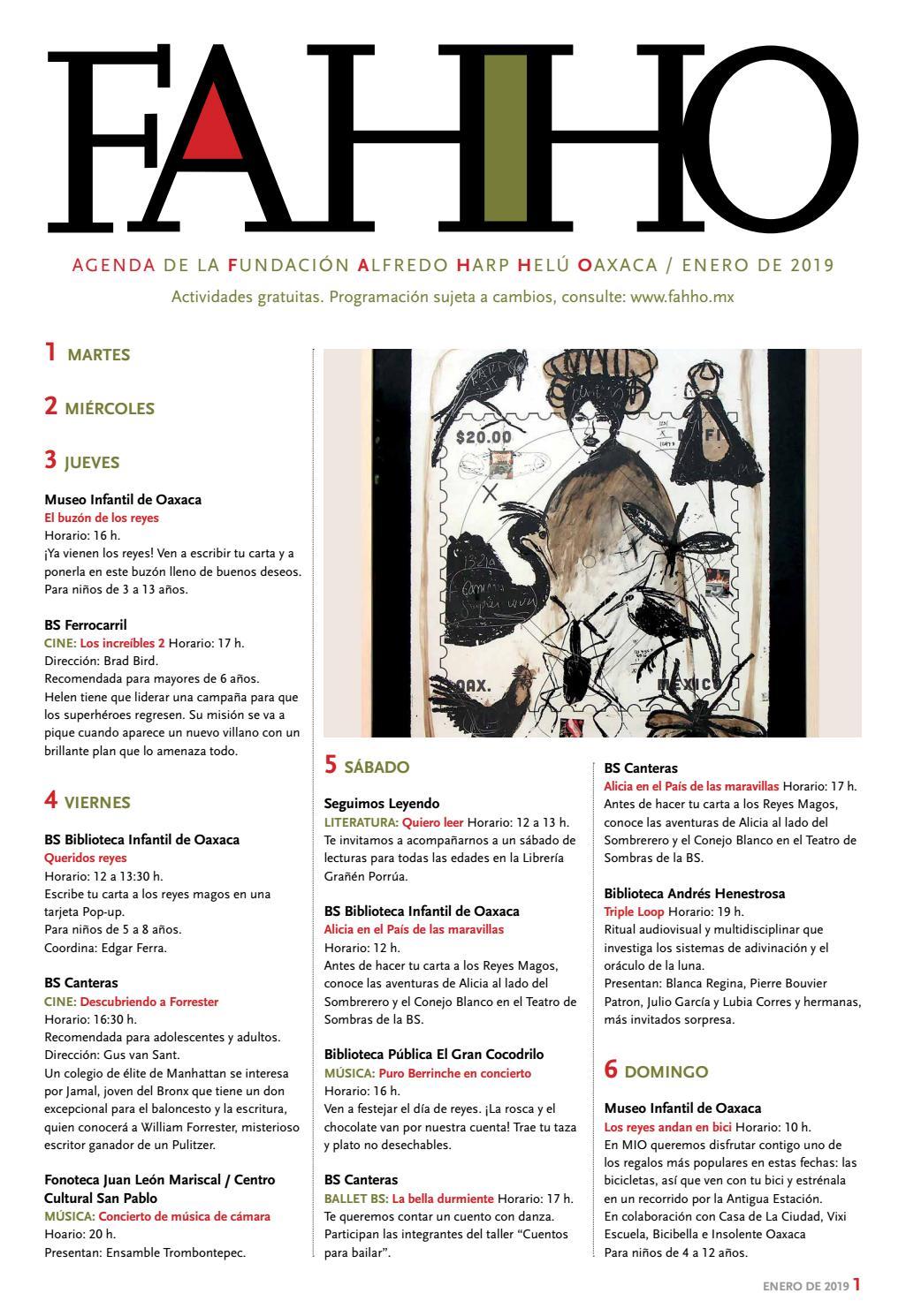Agenda de enero 2019 FAHHO by Fundación Alfredo Harp Helú Oaxaca - issuu