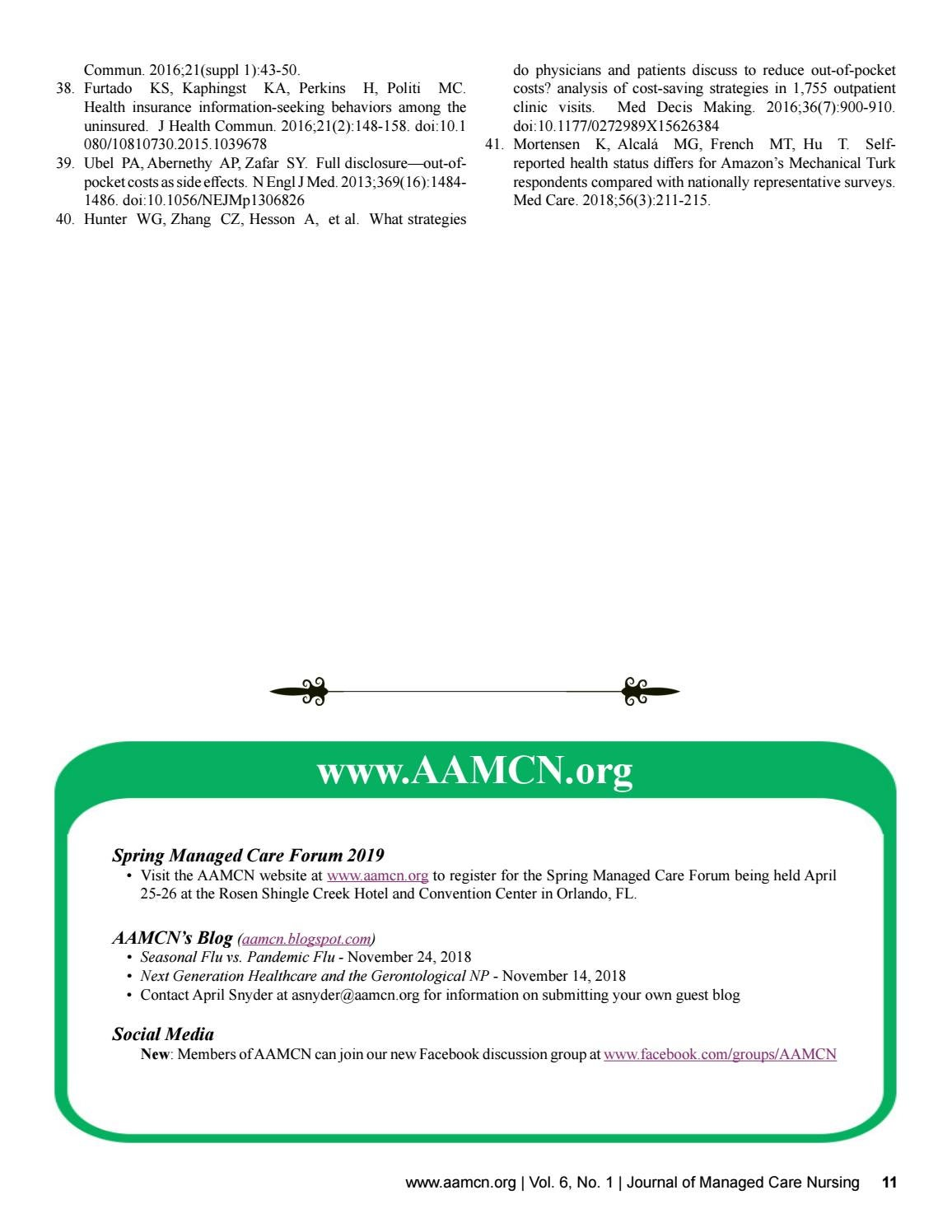 Journal of Managed Care Nursing, Volume 6, Number 1 by