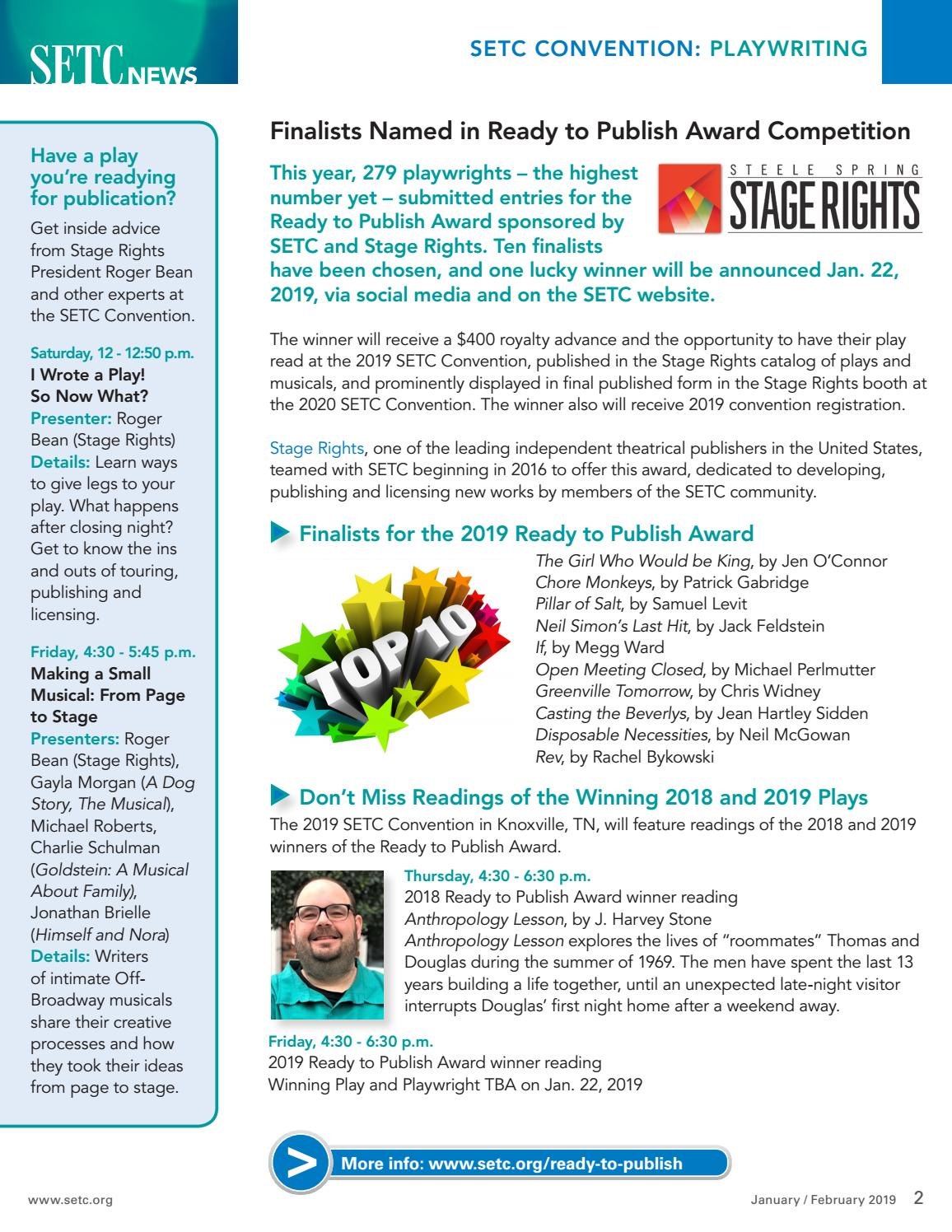 SETC News January/February 2019 by Southeastern Theatre Conference