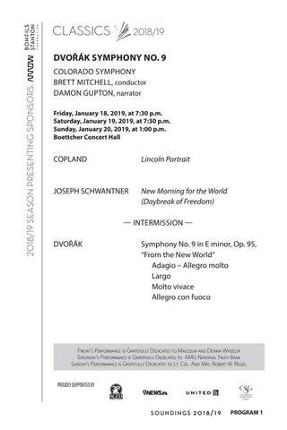 """Program - Dvorák Symphony No  9 """"New World"""" by Colorado Symphony - issuu"""