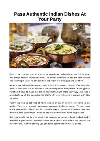 Pass Authentic Indian Dishes At Your Party by