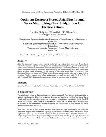 Optimum Design of Slotted Axial Flux Internal Stator Motor