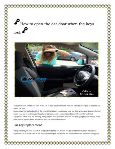 How To Open The Car Door When The Keys Lost By Martin Sztein Issuu