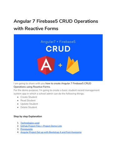 Angular 7 Firebase5 CRUD Operations with Reactive Forms by positron