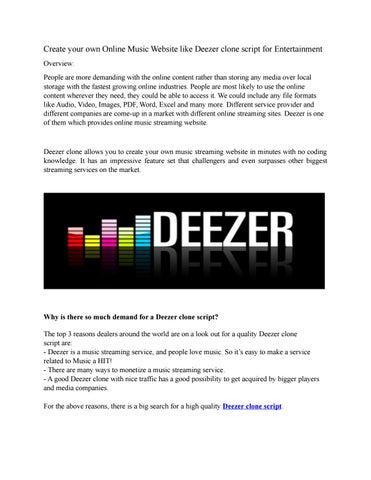 Create your own Online Music Website like Deezer clone script for