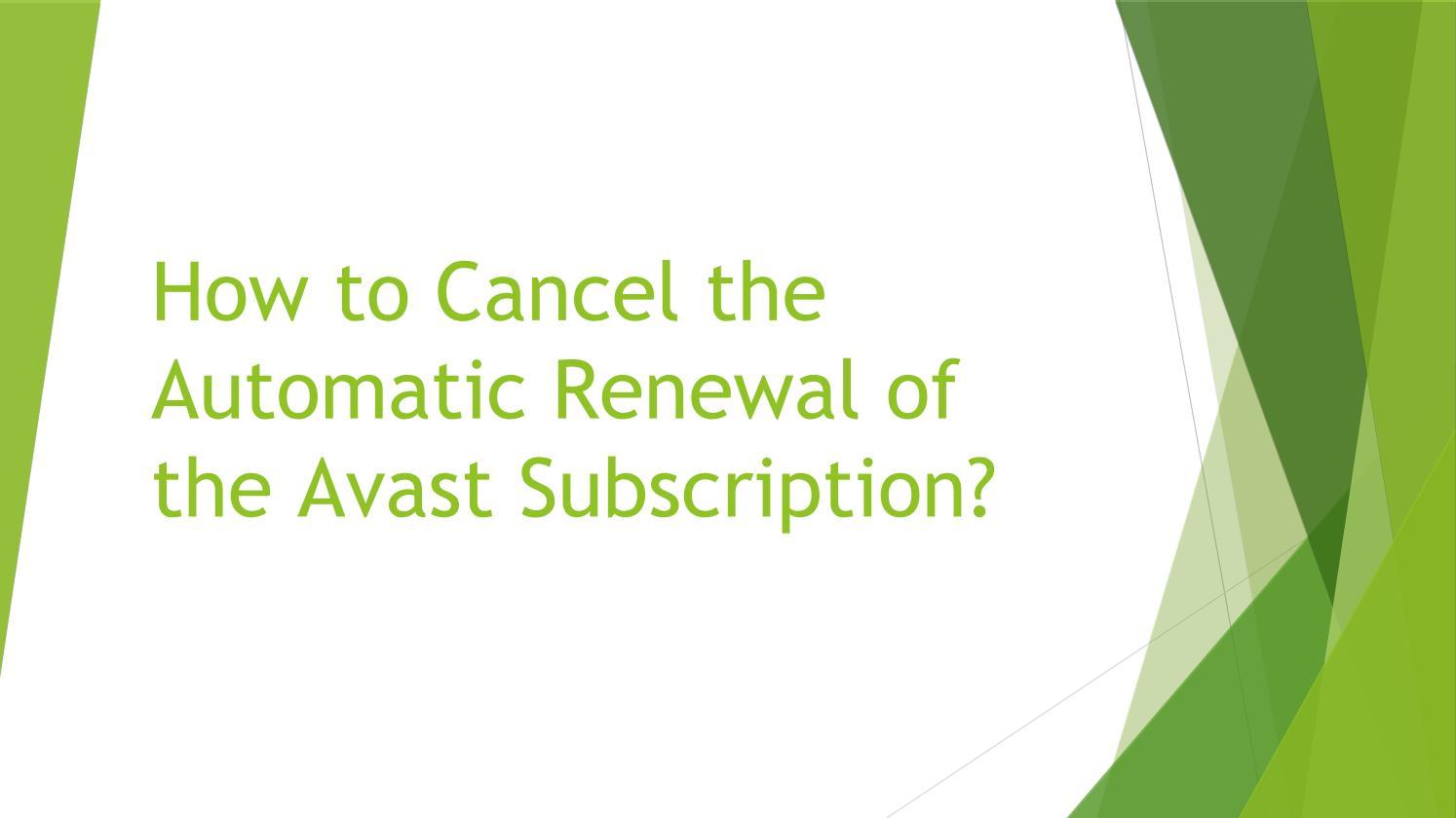 avast subscription cancel