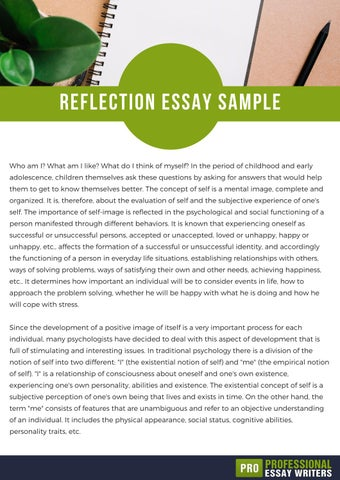 How To Write A Proposal For An Essay Reflection Essay Sample Who Am I What Am I Like What Do I Think Of  Myself In The Period Of Childhood And Early Adolescence Children  Themselves Ask These  Analysis Essay Thesis Example also High School Entrance Essays Reflection Essay Sample By Professionalessaywritersinfo  Issuu Marriage Essay Papers