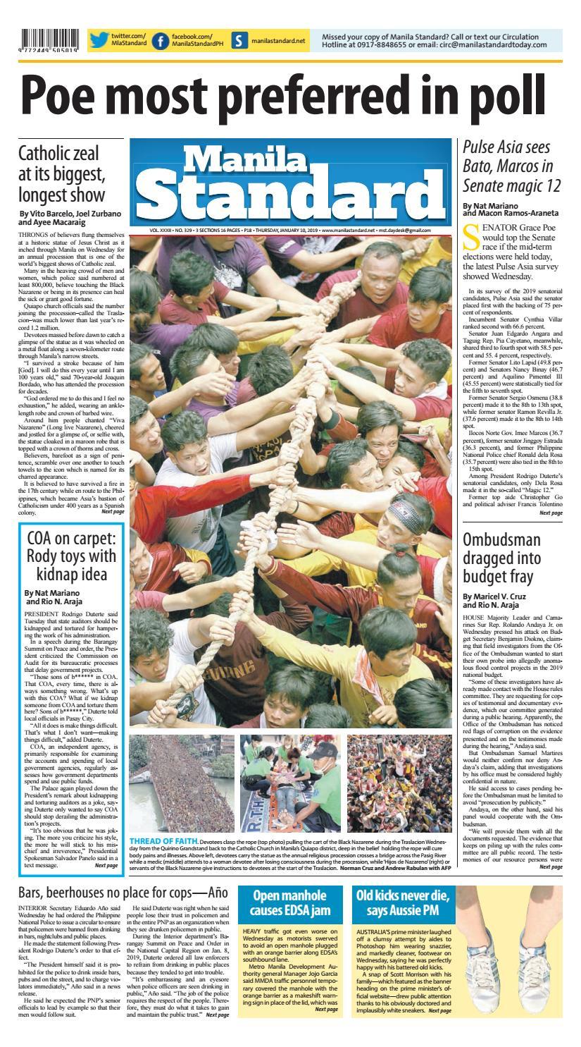 75aec0c13d27 Manila Standard - 2019 January 10 - Thursday by Manila Standard - issuu