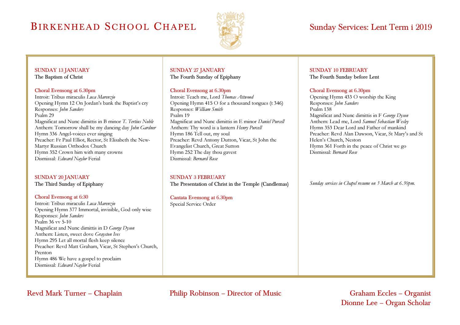 Birkenhead School Chapel: Evensong Services Lent Term 2019 by