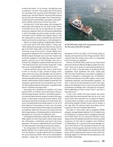 Page 55 of SHORT RANGE UNMANNED AIRCRAFT SYSTEMS: DOING YEOMAN'S WORK, In a promising new pilot program, short range UAS systems are rapidly changing the way coast guard units do their work.