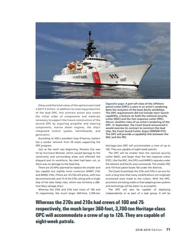Page 75 of NEW CUTTERS REPRESENT A NEW NORMAL, The offshore patrol cutter will replace aging medium endurance cutters.