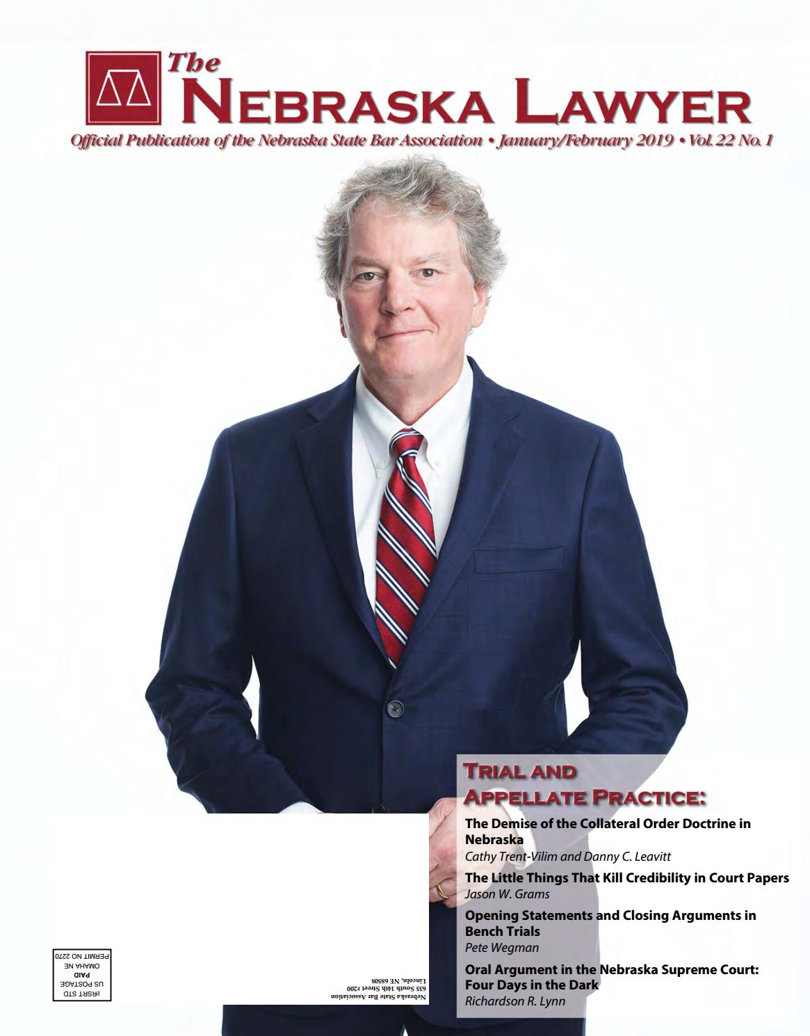 The Nebraska Lawyer Magazine January February 2019 By Elisa Oria Issuu