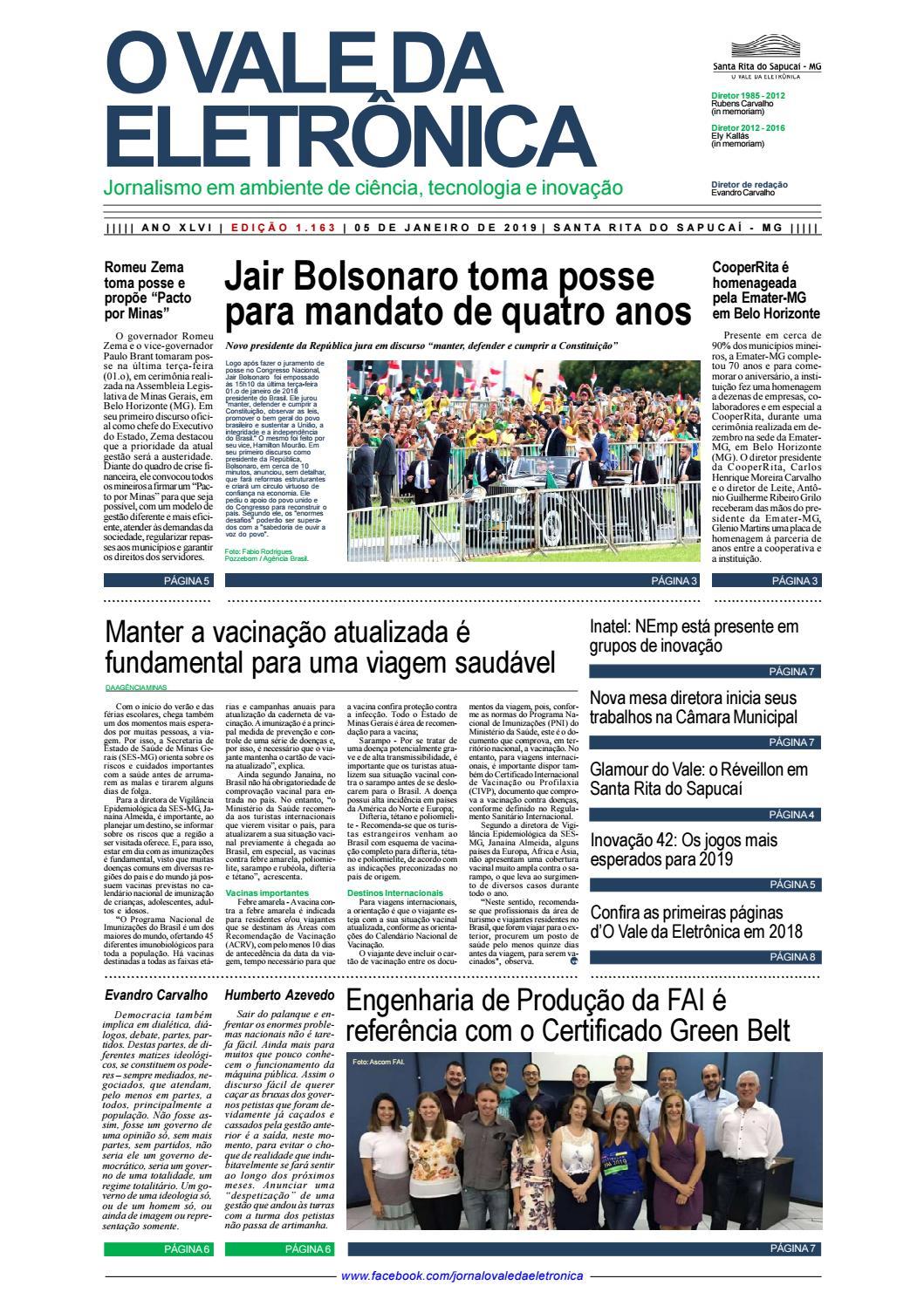 4255faa23 O Vale da Eletrônica | Edição 1.163 | 05 de janeiro de 2019 by Jornal O  Vale da Eletrônica - issuu