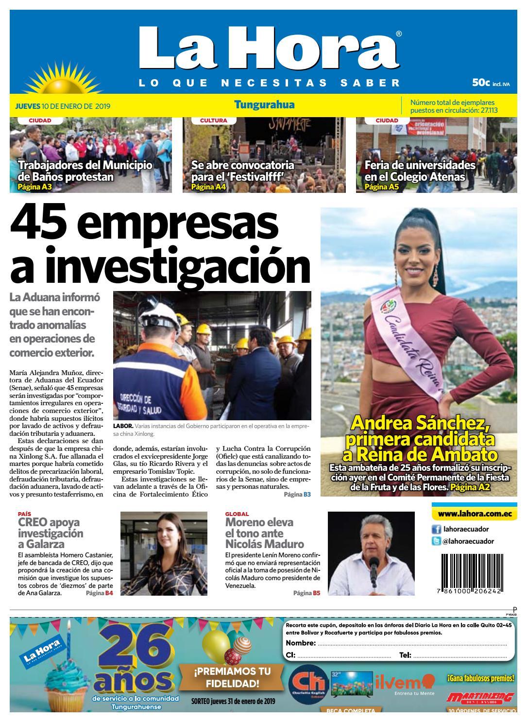 7400e76bbc TUNGURAHUA 10 DE ENERO DE 2019 by Diario La Hora Ecuador - issuu