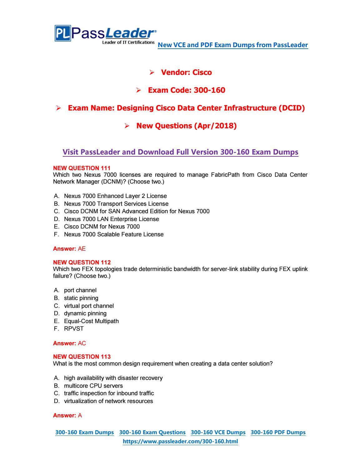 2019-New-PassLeader-300-160-Exam-Dumps-VCE-PDF-Braindumps-Exam