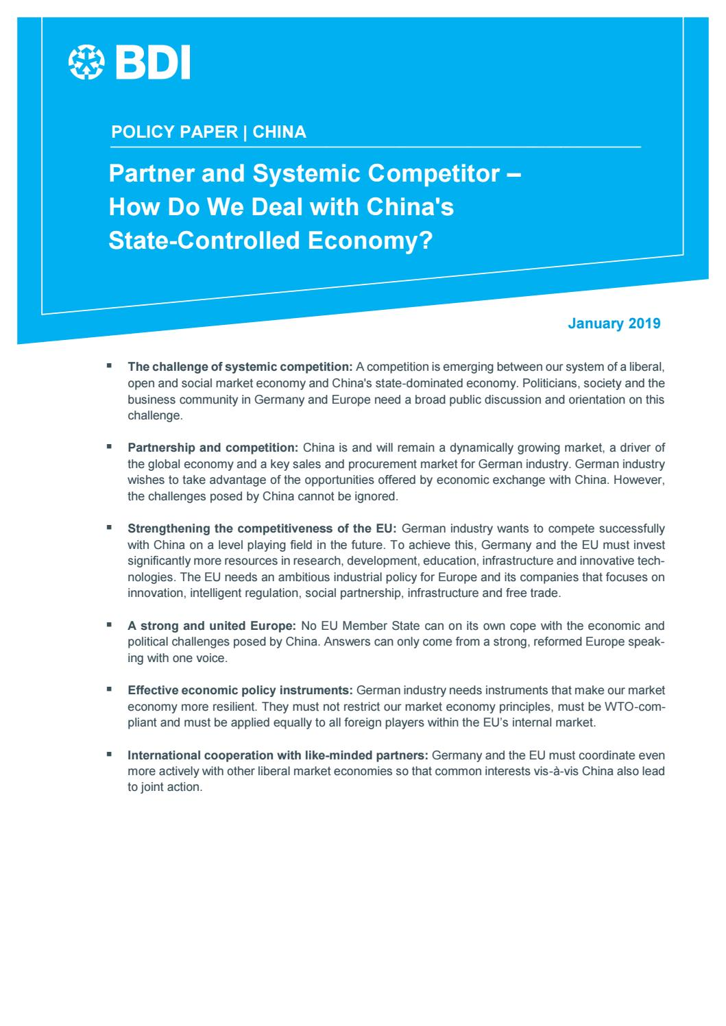 China – Partner and Systemic Competitor by Bundesverband der