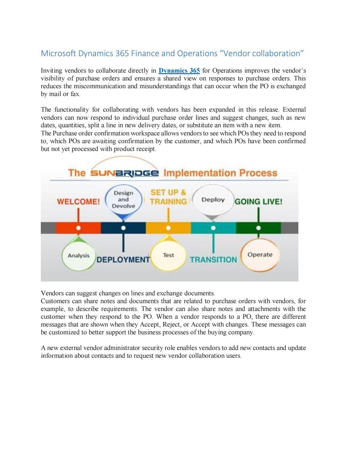 "Microsoft Dynamics 365 Finance and Operations ""Vendor"