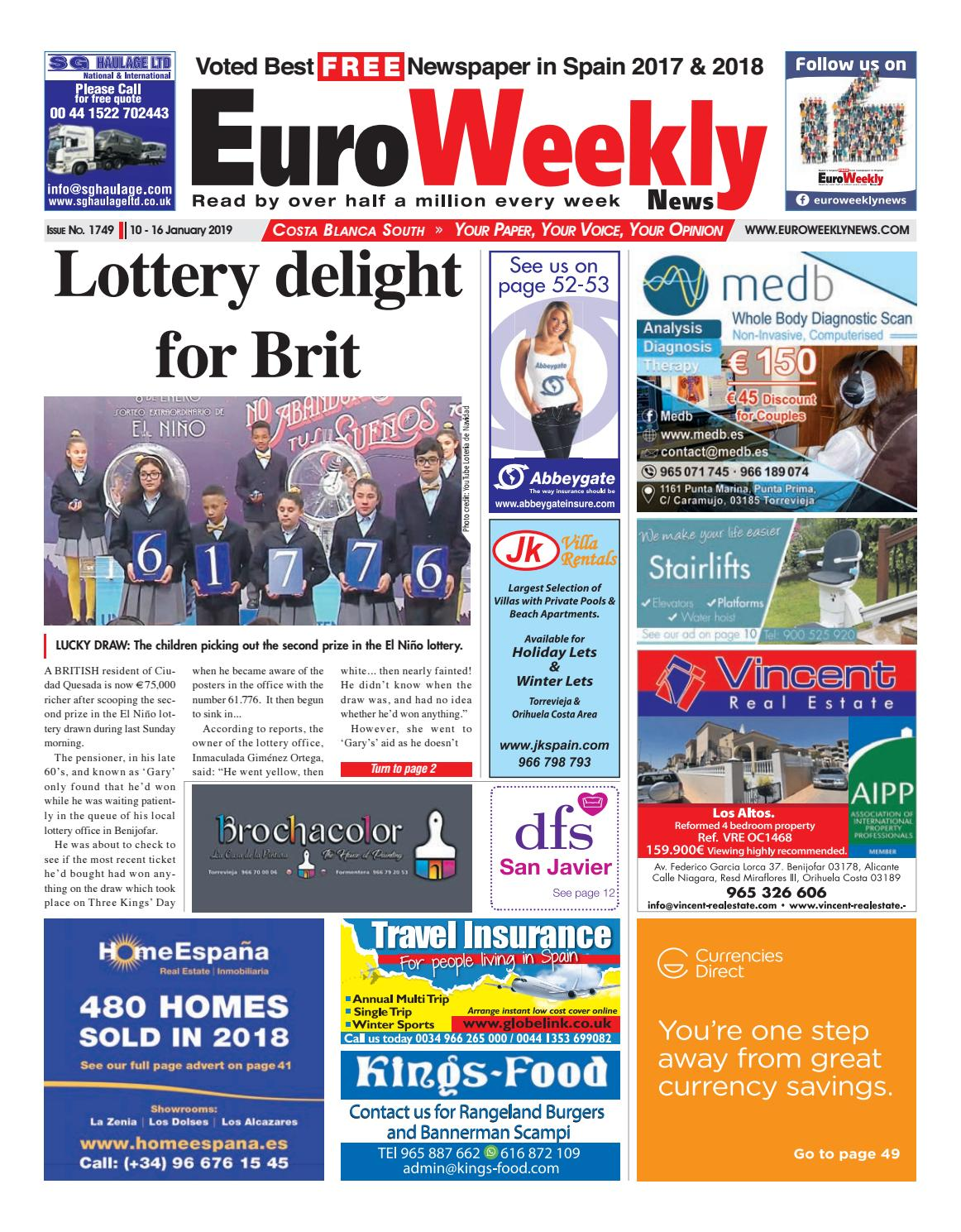 Euro Weekly News Costa Blanca South 10 16 January 2019 Issue 1749 By Euro Weekly News Media S A Issuu