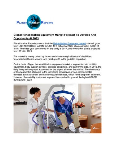 Global Rehabilitation Equipment Market 2019 - Volume, Revenue And