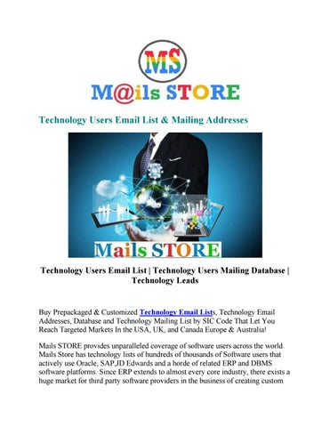 Technology Users Email List   Technology Users Mailing Database