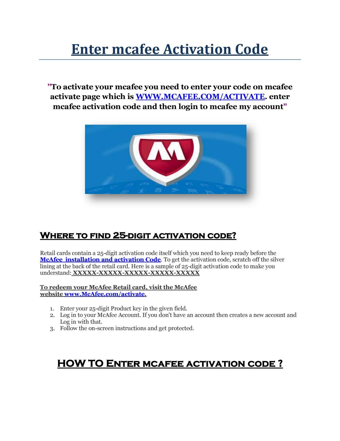 Enter mcafee Activation Code by activationpage - issuu