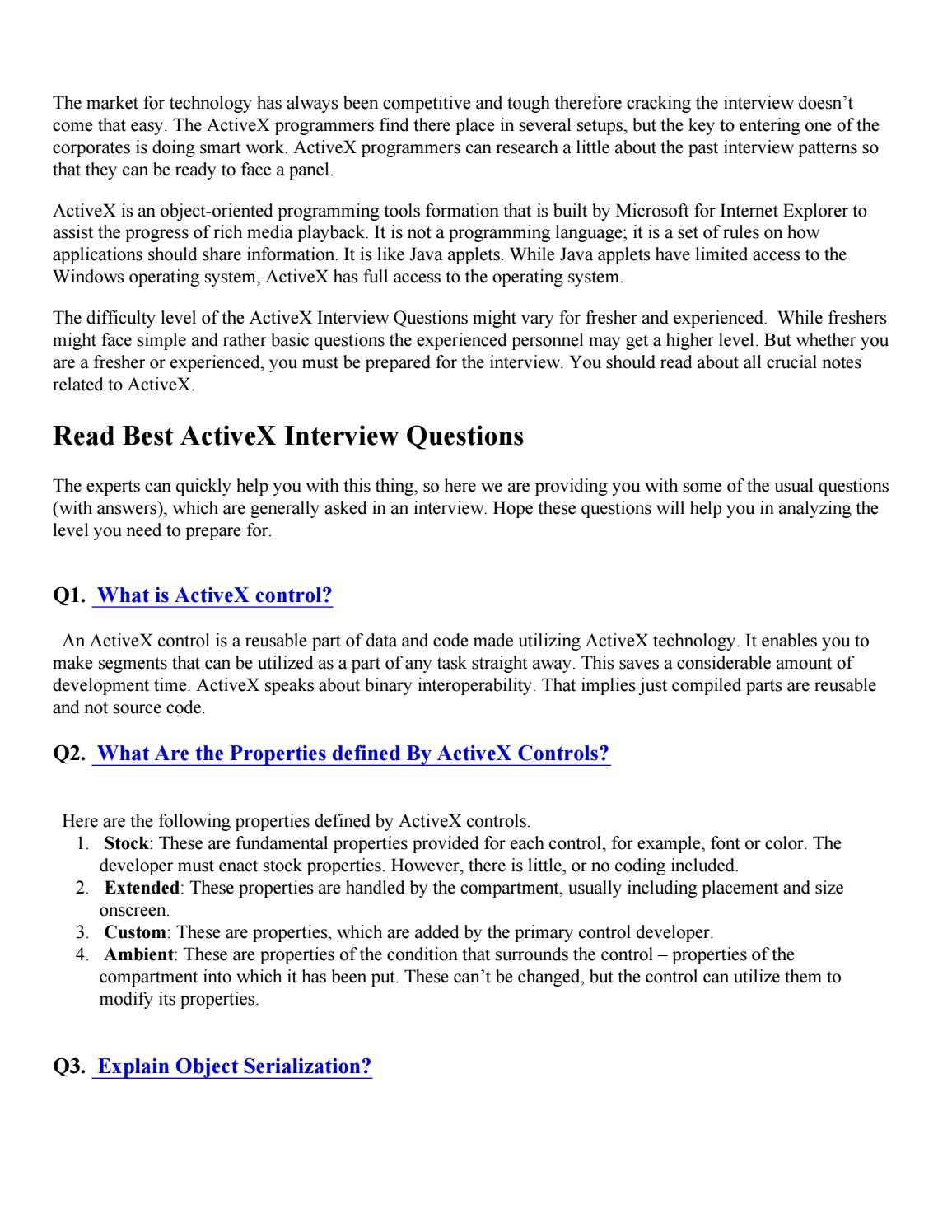 Activex interview questions pdf by sandeeprjj123 - issuu