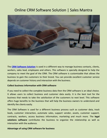 Online CRM Software Solution, Sales Mantra by James Noble