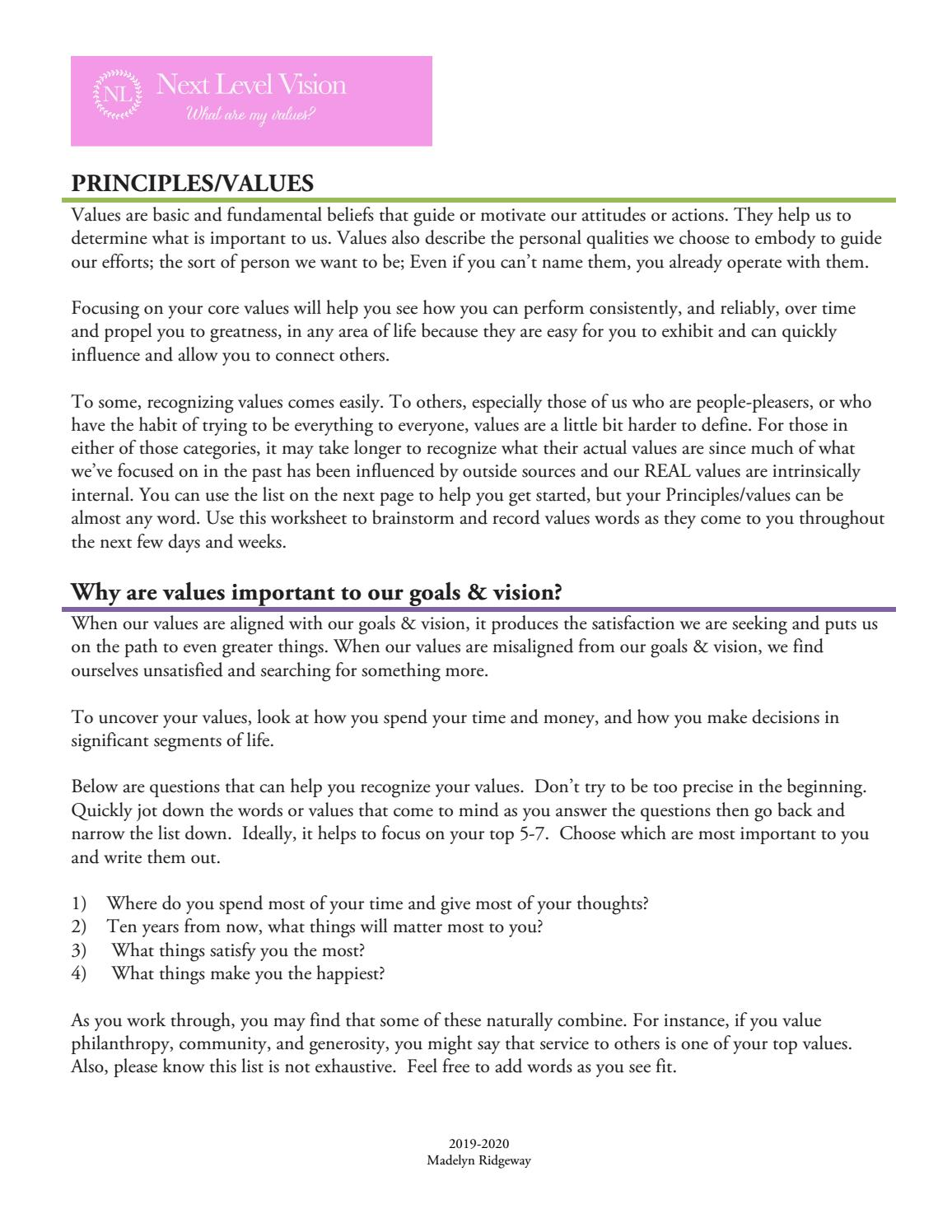 Next Level Vision Worksheet- Values by Madelyn Ridgeway - issuu