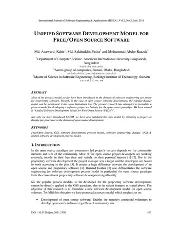 UNIFIED SOFTWARE DEVELOPMENT MODEL FOR FREE/OPEN SOURCE