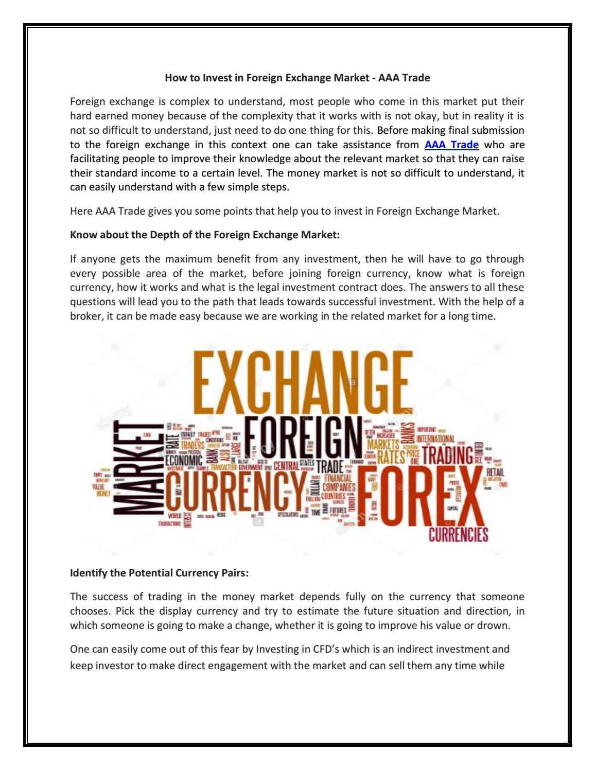 How To Invest In Foreign Exchange Market Aaa Trade By