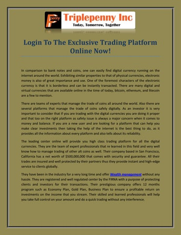 Login To The Exclusive Trading Platform Online Now! by Alison Amelia