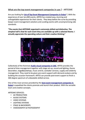 What are the top event management companies in uae ? - ARTESME by