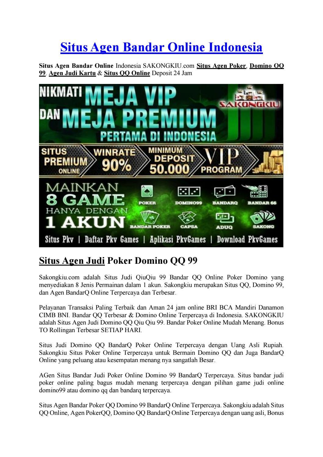 Situs Agen Bandar Online Indonesia By Pokercapsadomino Issuu