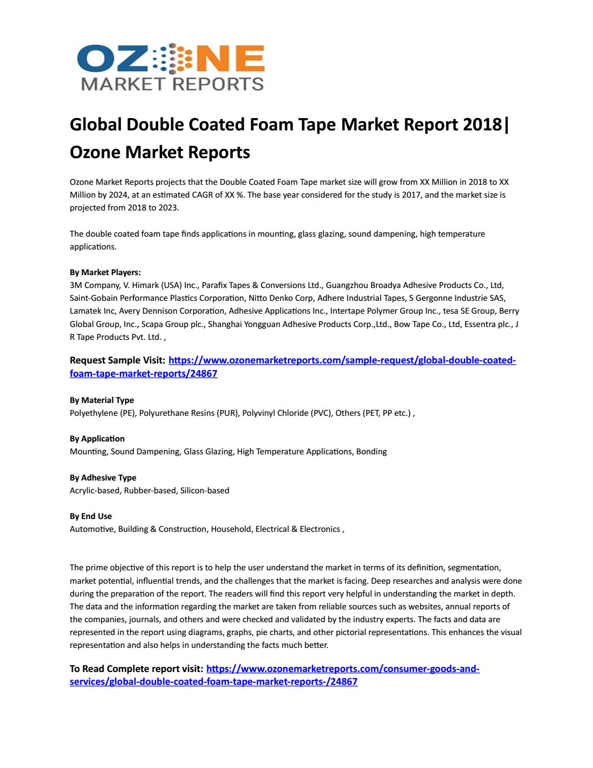 Global Double Coated Foam Tape Market Report 2018|Ozone