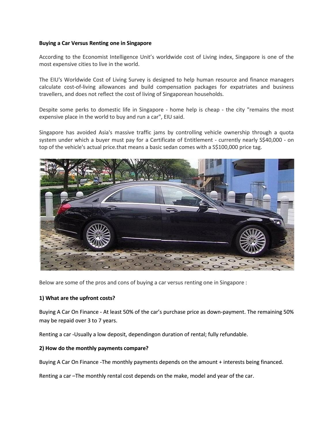 Buying A Car Vs Renting In Singapore By Exclusive Limo Issuu
