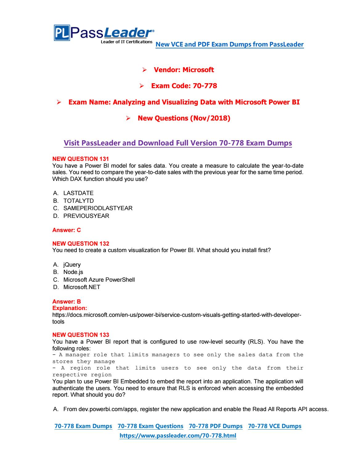 2019-New-PassLeader-70-778-Exam-Dumps-VCE-PDF-Braindumps