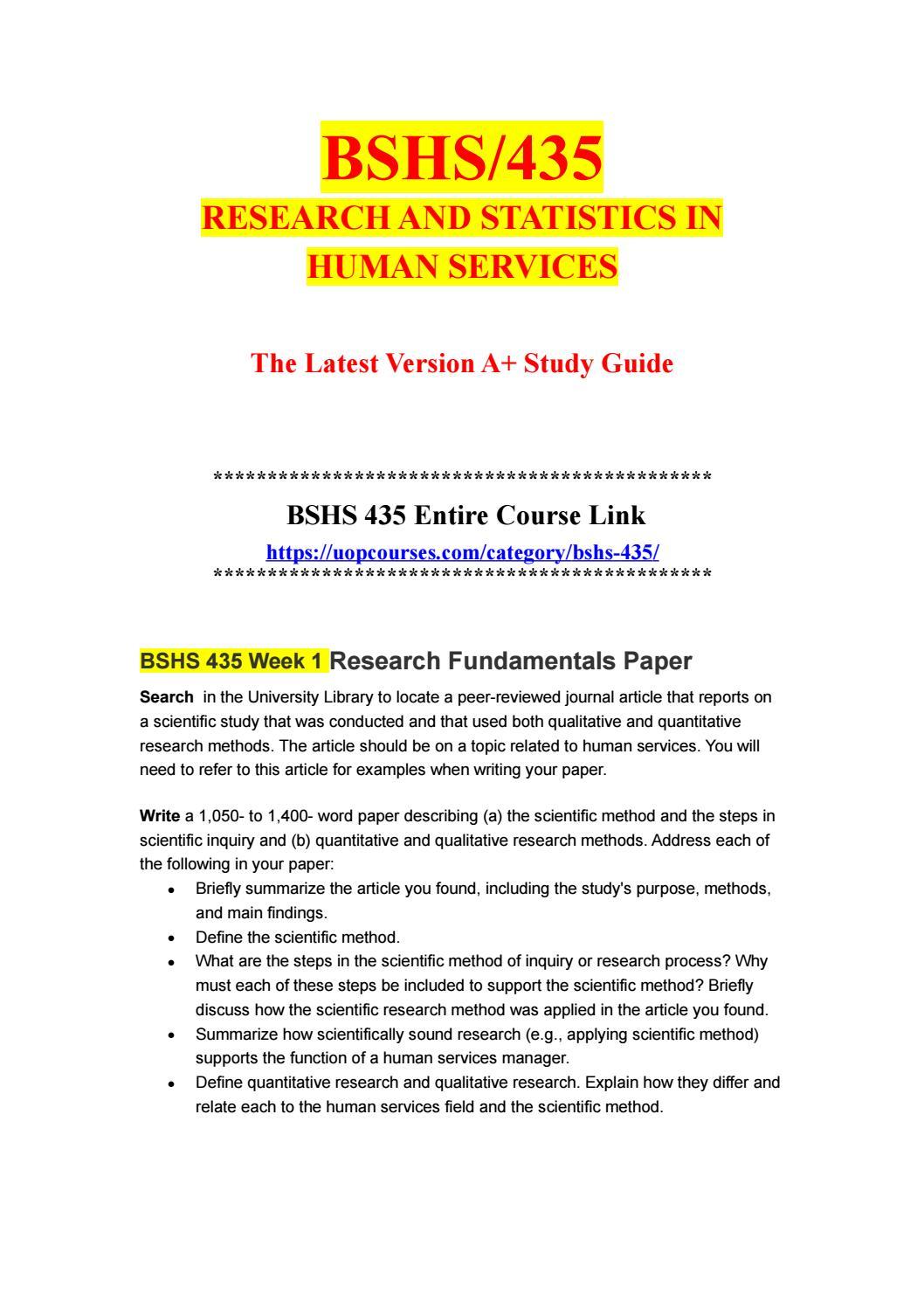 BSHS 435 Week 5 Descriptive and Inferential Statistics
