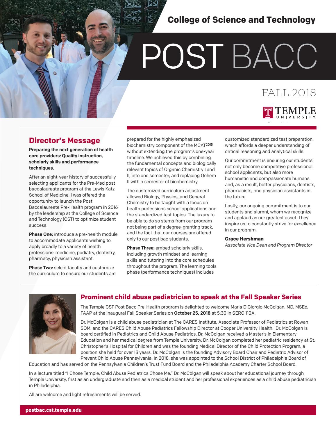 CST Post Bacc Fall 2018 by TempleCST - issuu