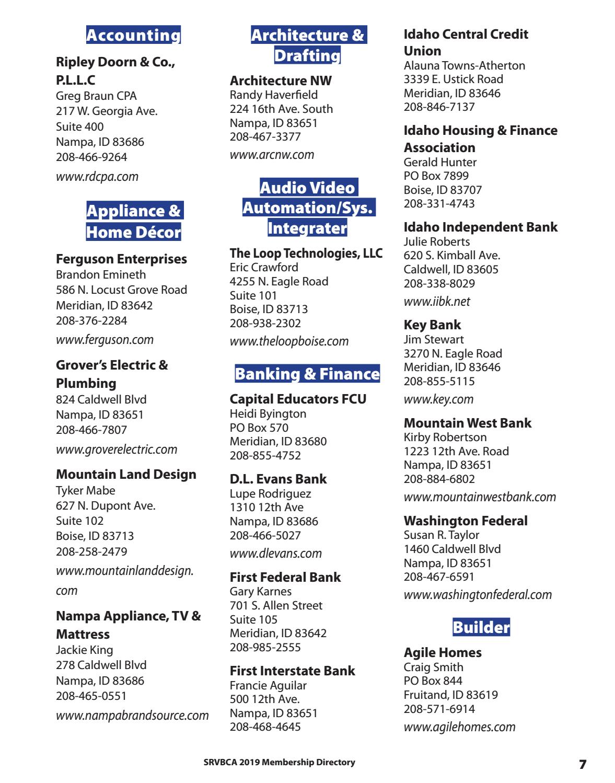 2019 SRVBCA Membership Directory by APG-West (Idaho Press