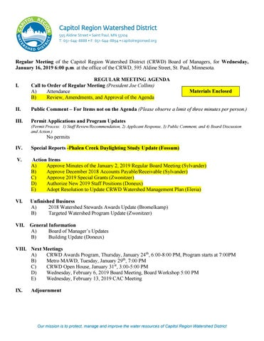 January 16, 2019 Board Packet by Capitol Region Watershed