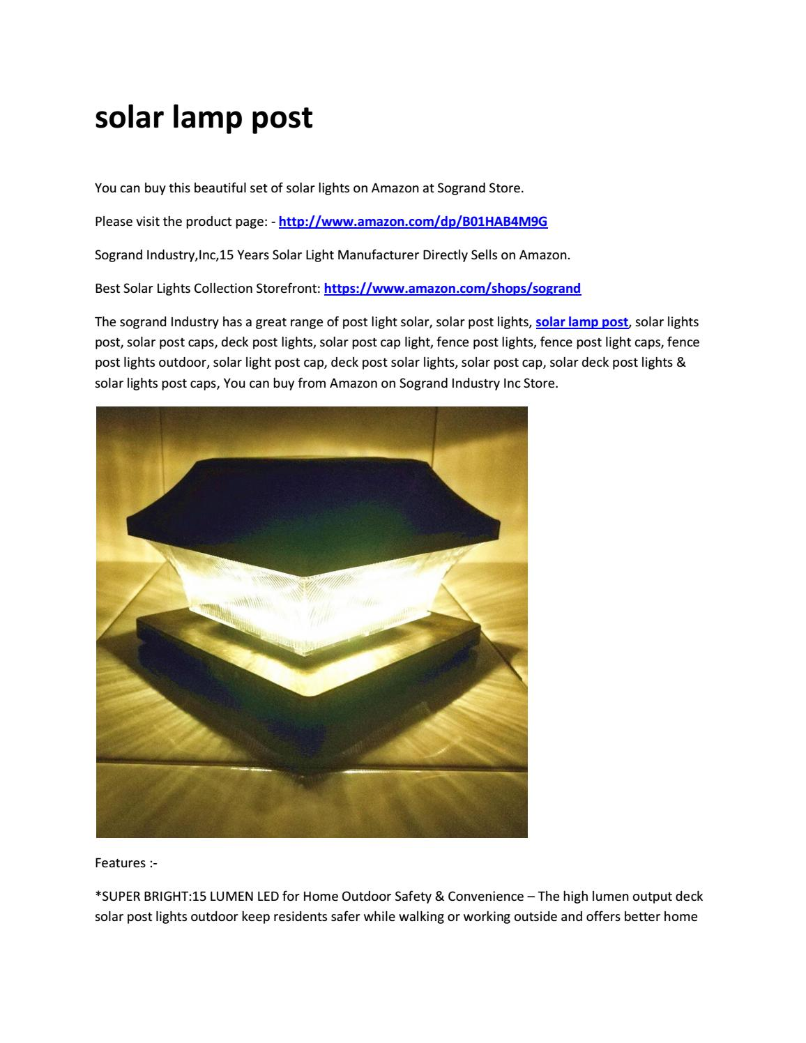Solar Lamp Post By Sogrand Industry Inc Issuu