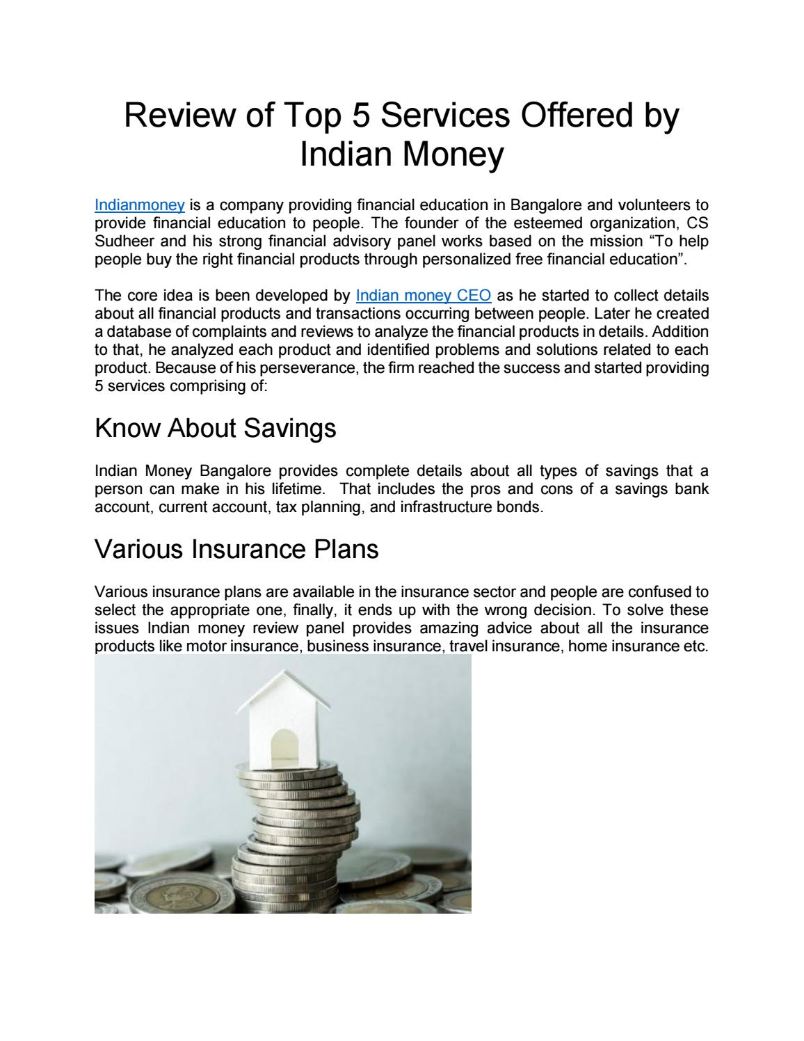 Indianmoney Services(top 5 services) | Indian Money Reviews
