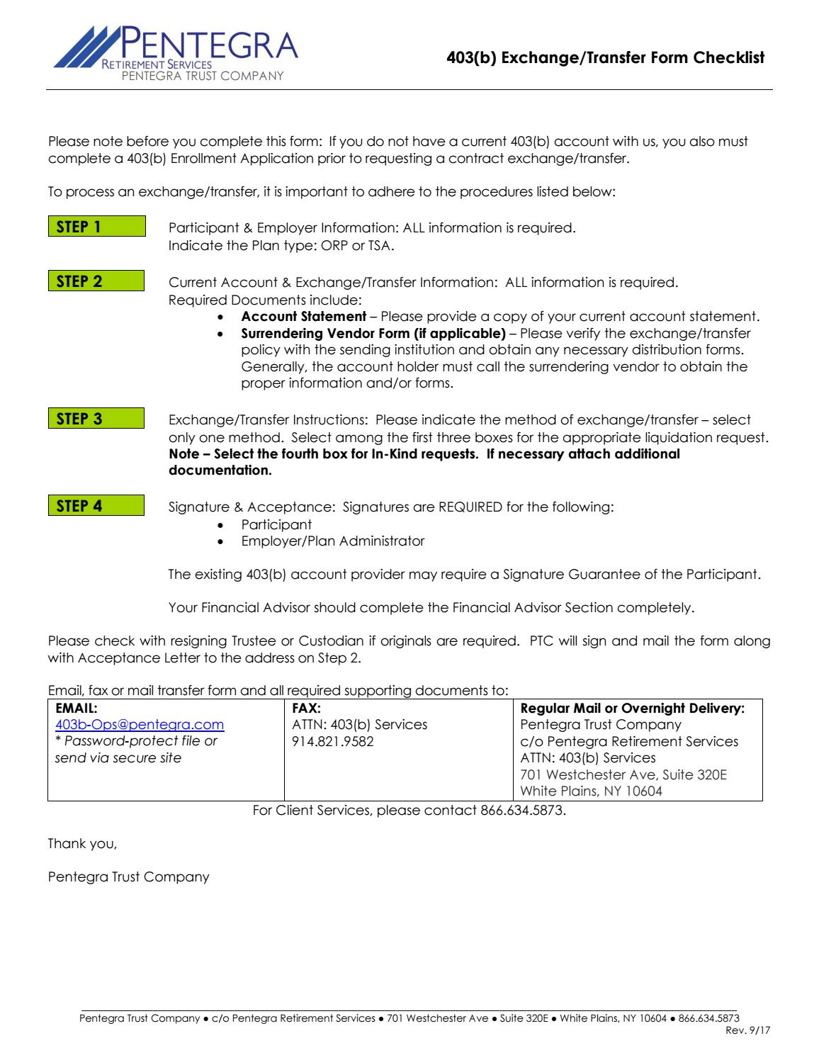403b Exchange Transfer Form Checklist by pentegra - issuu
