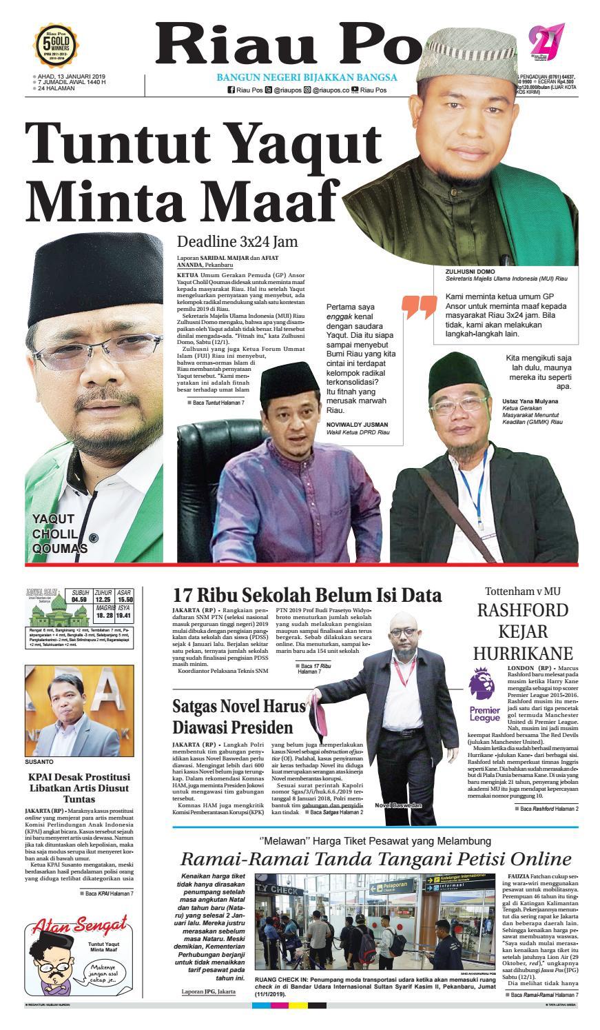 Riau Pos Edisi Minggu 20 Januari 20 by Riau Pos   issuu