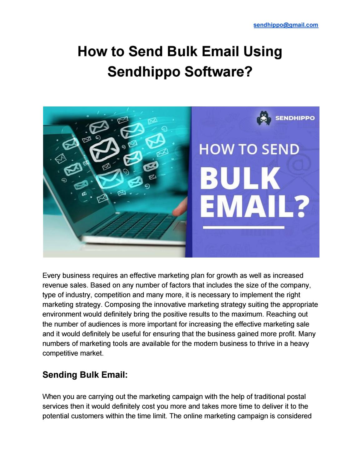 How to Send Bulk Email Using Sendhippo Software? by