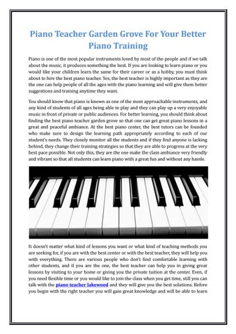 Piano Teacher Garden Grove For Your Better Piano Training