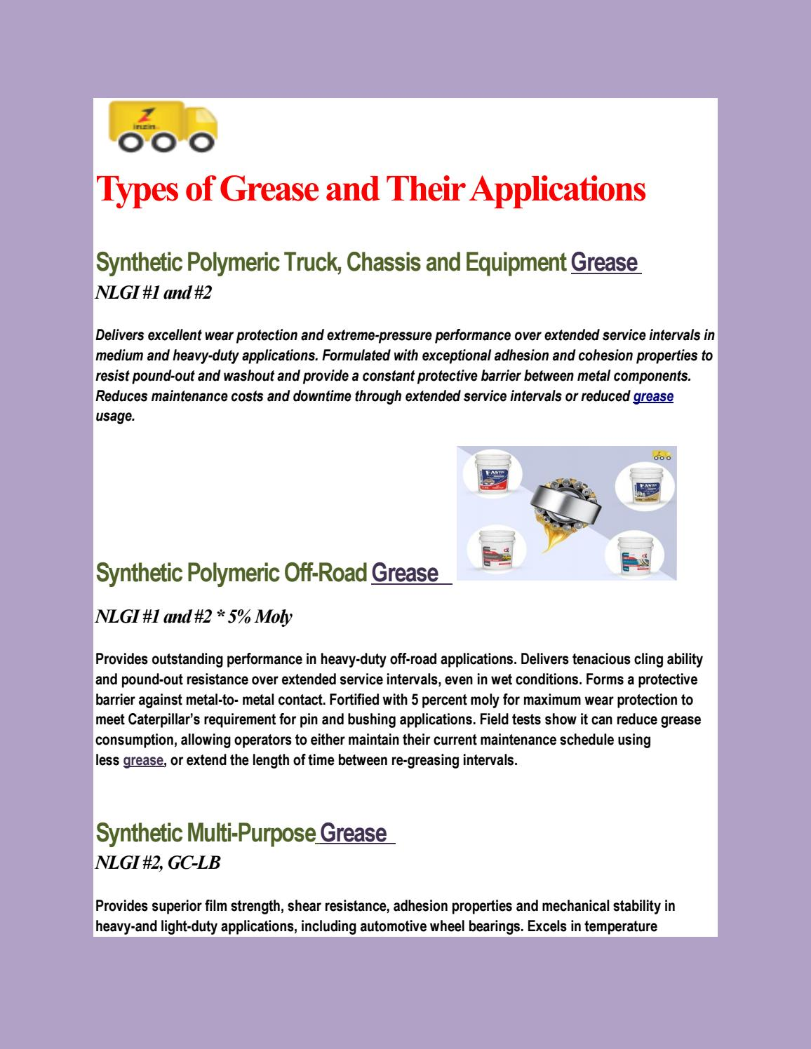 Types of Grease and Their Applications by inzin - issuu