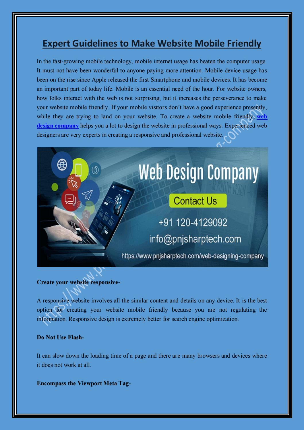 Expert Guidelines To Make Website Mobile Friendly By Emma Brown Issuu