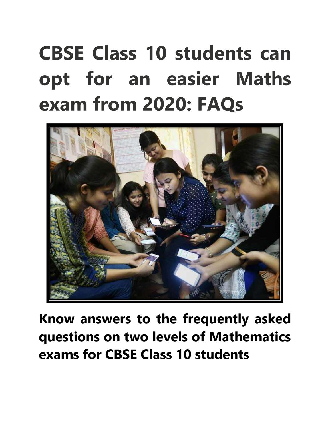 CBSE Class 10 Students Can Opt for an Easier Maths Exam From